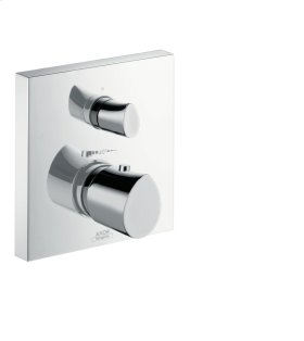 Brushed Chrome Thermostatic mixer for concealed installation with shut-off/ diverter valve