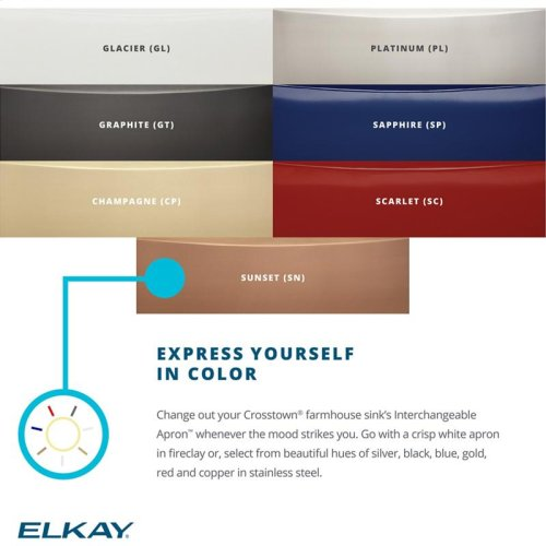 Elkay Crosstown Stainless Interchangeable Apron, Platinum
