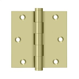 """3 1/2""""x 3 1/2"""" Square Hinge, Residential - Unlacquered Brass"""
