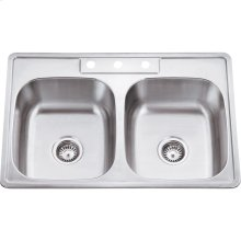 """304 Stainless Steel (20 Gauge) Drop In Kitchen Sink with Two Equal Bowls. Three Plumbing Holes on Deck. Overall Measurements: 33"""" x 22"""" x 9"""""""