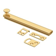 """6"""" Surface Bolt, Concealed Screw, HD - PVD Polished Brass"""