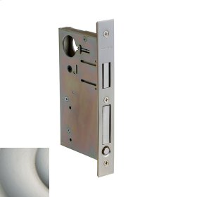 Satin Nickel with Lifetime Finish 8632 Pocket Door Lock with Pull