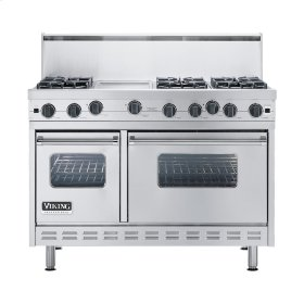 "Stainless Steel 48"" Open Burner Commercial Depth Range - VGRC (48"" wide, six burners 12"" wide griddle/simmer plate)"