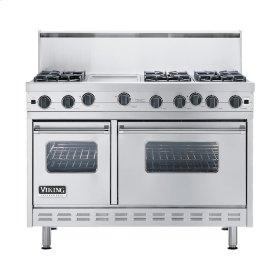 "Stainless Steel 48"" Open Burner Commercial Depth Range - VGRC (48"" wide, six burners 12"" wide griddle/simmer plate)"