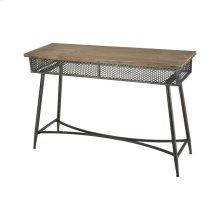"""Honcho Black and Natural Wood Tone 59"""" Metal and Wood Vintage-Industrial Shelf"""
