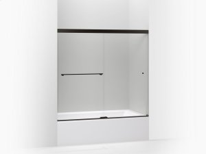 """Crystal Clear Glass With Anodized Dark Bronze Frame Sliding Bath Door, 55-1/2""""h X 56-5/8 - 59-5/8""""w, With 1/4"""" Thick Crystal Clear Glass Product Image"""