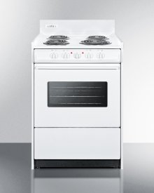 """24"""" Wide Electric Range In White With Oven Window, Interior Light, and Lower Storage Compartment"""