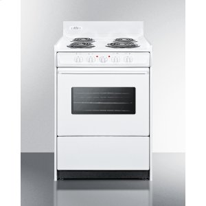 "Summit24"" Wide Electric Range In White With Oven Window, Interior Light, and Lower Storage Compartment"