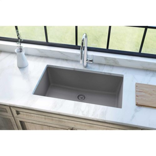 "Elkay Quartz Classic 33"" x 18-7/16"" x 9-7/16"", Single Bowl Undermount Sink, Greystone"