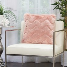 "Faux Fur Vv056 Blush 20"" X 20"" Throw Pillows"