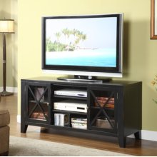 """Distressed Black"" X-Front 52"" TV Stand"