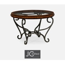 Rustic Walnut and Glass Top Centre Table with Wrought Iron Base