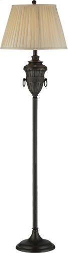 Floor Lamp - Aged Black/beige Fabric Shade, E27 Cfl 23w Product Image