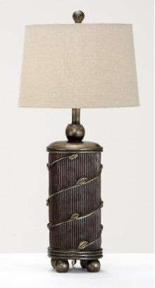 Round Brown with Bronze Leaf Accents Lamp / Linen Shade