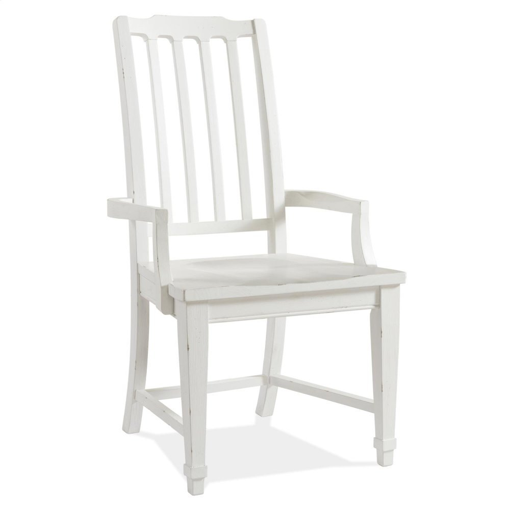 Grand Haven - Slat Back Arm Chair - Feathered White Finish