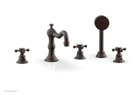 HENRI Deck Tub Set with Hand Shower with Cross Handles 161-48 - Weathered Copper