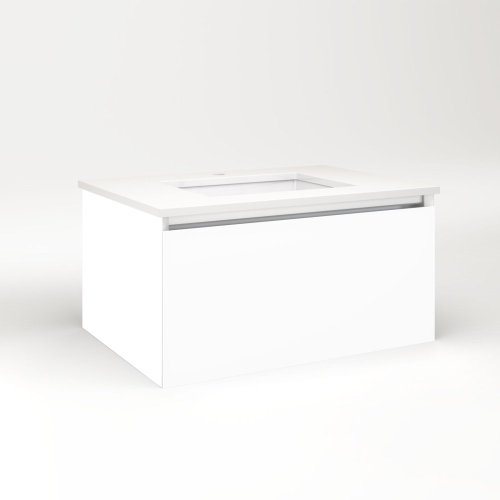 """Cartesian 30-1/8"""" X 15"""" X 21-3/4"""" Single Drawer Vanity In White With Slow-close Plumbing Drawer and No Night Light"""