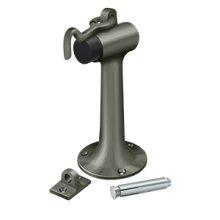 "Floor Mount, 6"" Bumper w/ Hook & Eye, HD, Solid Brass - Antique Nickel"