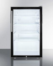 "Commercially Listed ADA Compliant 20"" Wide Glass Door All-refrigerator for Freestanding Use, Auto Defrost With A Lock, Thin Handle and Black Cabinet"