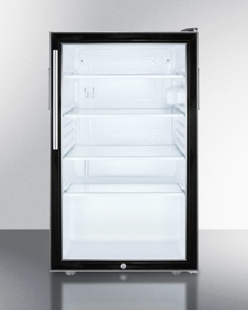 """Commercially Listed ADA Compliant 20"""" Wide Glass Door All-refrigerator for Freestanding Use, Auto Defrost With A Lock, Thin Handle and Black Cabinet"""