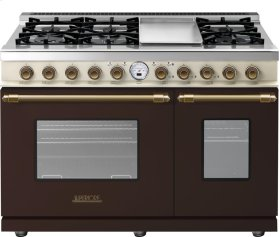 Range DECO 48'' Classic Brown dual color, Bronze 6 gas, griddle and 2 electric ovens