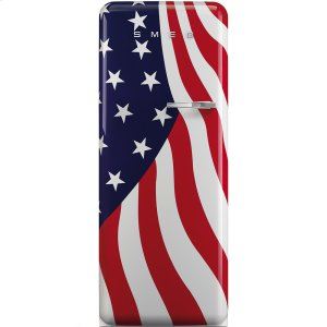 "SmegApprox 24"" 50'S Style Refrigerator with ice compartment, US Flag, Left hand hinge"
