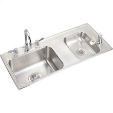 "Elkay Lustertone Classic Stainless Steel 37-1/4"" x 17"" x 4-1/2"", Double Bowl Drop-in Classroom ADA Sink Kit"