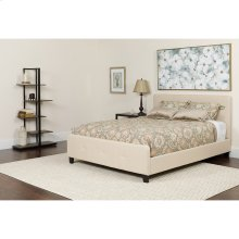 Tribeca Full Size Tufted Upholstered Platform Bed in Beige Fabric
