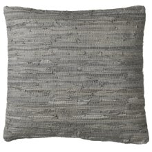 Grey Leather Chindi Floor Pillow (Each One Will Vary)
