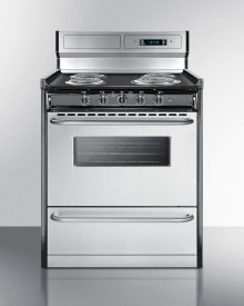 """Deluxe 220v Electric Range With Stainless Steel Doors, Clock/timer, and Oven Window With Light In 30"""" Width"""