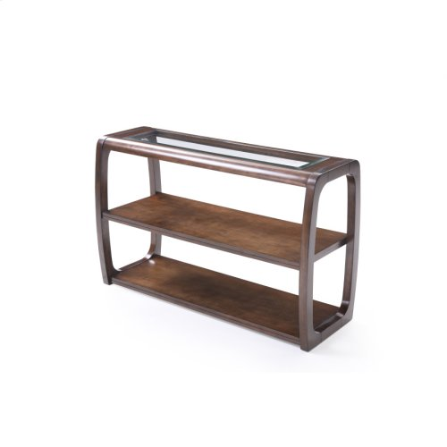 Sofa Table-glass Top W/dark Walnut Finish-rta