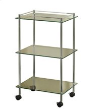 Essentials Freestanding Three Tier Glass Cart With Wheels
