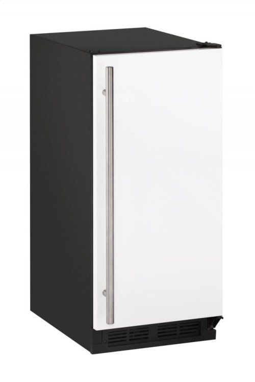 """1000 Series 15"""" Crescent Ice Maker With White Solid Finish and Field Reversible Door Swing"""