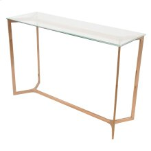 Monza Console Table Glass Top, Rose Gold