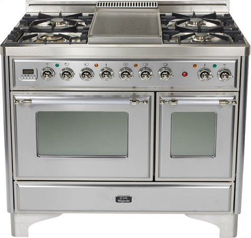 """Stainless 40"""" French Top Majestic Techno Dual Fuel Range"""
