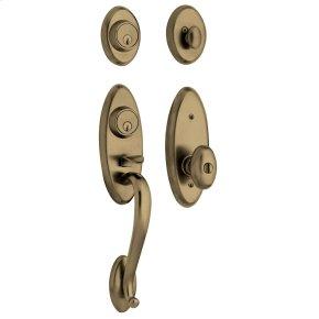 Satin Brass and Black Landon Two-Point Lock Handleset