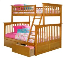 Columbia Bunk Bed Twin over Full with Urban Bed Drawers in Caramel Latte