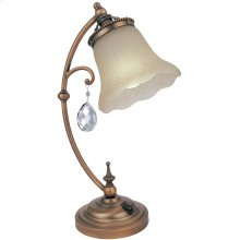 Table Lamp - Brushed Copper/amber Glass, E27 Cfl 13w