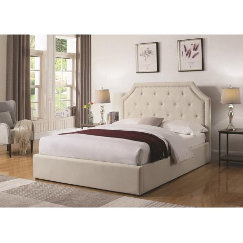 Hermosa Beige Upholstered Queen Bed With Hydraulic Lift Storage
