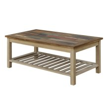 Emerald Home Pablo Pinewood Cocktail Table With Multi-colored Top and Slat Bottom Shelf-t313-00