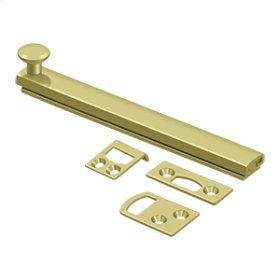 "6"" Surface Bolt, Concealed Screw, HD - Polished Brass"
