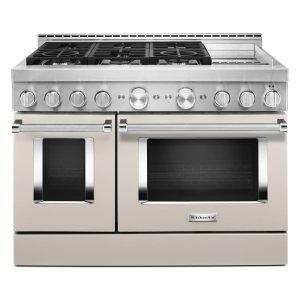 KitchenAidKitchenAid® 48'' Smart Commercial-Style Gas Range with Griddle - Milkshake