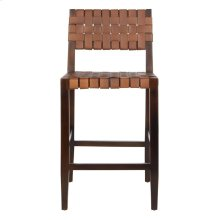 Paxton Woven Leather Counter Stool - Cognac