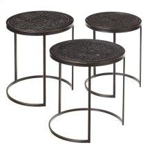 3 pc. set. Carved Black Medallion Nested Table. (3 pc. set)