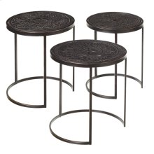 3 pc. set. Carved Black Medallion Nested Table. (3 pc. set)