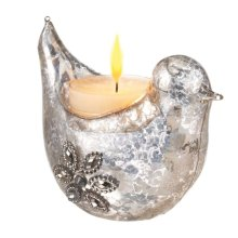 Mercury Glass Jeweled Bird Tealight Holder