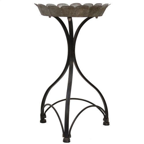 Cole Metal Accent Table Small 25in Galvanized Top Tray With Painted Black Stand Base