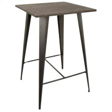 Oregon Bar Table - Antique Metal, Espresso Bamboo