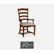 French Ladderback Style Carver Armchair, Upholstered in MAZO