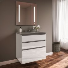 "Curated Cartesian 24"" X 7-1/2"" X 21"" and 24"" X 15"" X 21"" Three Drawer Vanity In White Glass With Tip Out Drawer, Slow-close Plumbing Drawer, Full Drawer and Engineered Stone 25"" Vanity Top In Stone Gray (silestone Expo Grey)"